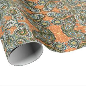 orange paisley gift wrap