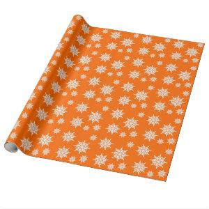Orange Snow Crystals Christmas Gift Wrap Paper