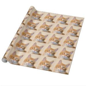 Orange tabby kitten wrapping paper