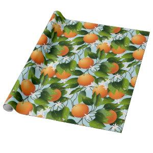 Oranges Floral Fruit Garden Wrapping Paper