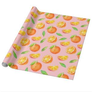 Oranges Fruit Pattern, Watercolor Citrus Wrapping Paper