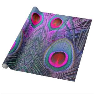 Ornate Fuchsia-Purple  Peacock Feathers GIFTS Wrapping Paper