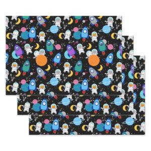 Outer Space Kittens Cat Astronaut Kids Birthday Wrapping Paper Sheets