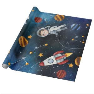 Outer Space Pattern Astronaut Illustration Wrapping Paper