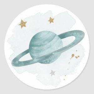 Outer Space Planets Galaxy Favor Gift Cupcake Classic Round Sticker