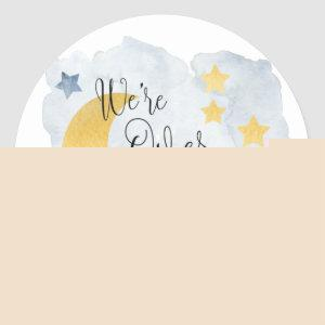 Over the Moon, Blue Watercolor Baby Shower Favor Classic Round Sticker