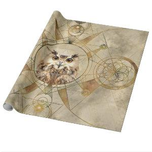 Owl Sacred Geometry Digital Art Wrapping Paper