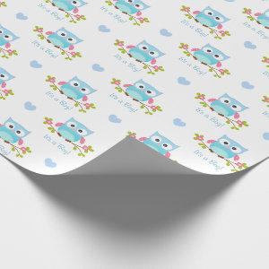 Owl Wrapping Paper Baby Boy Blue It's A Boy