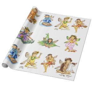Paint Pixies Fairies JL Biel Wrapping Paper