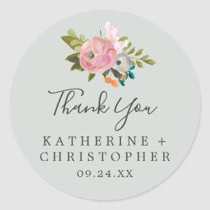 Painted Floral Thank You Wedding Favor Sticker