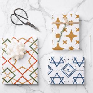 Painted Patterns Festive Holiday and Jewish Stars Wrapping Paper Sheets