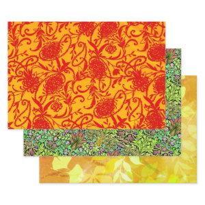 Paisley Pearl, Arcadia, and Leafy Sampler Wrapping Paper Sheets