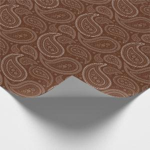 Paisley White on Brown Wrapping Paper