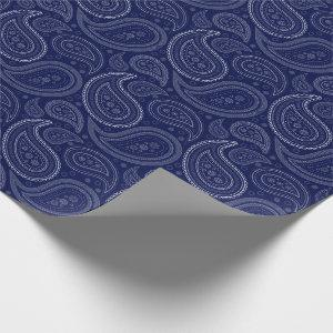 Paisley White on Navy Blue Wrapping Paper