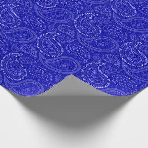 Paisley White on Royal Blue Wrapping Paper