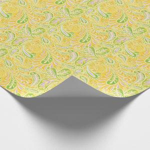 Paisley Yellow Green and Purple Pattern Wrapping Paper