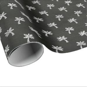 Palm Tree Black White Lines Chalkboard Elegant Wrapping Paper