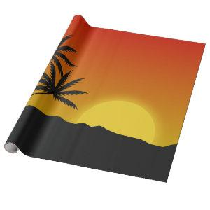 Palm Trees Silhouette and Tropical Sunset Wrapping Paper
