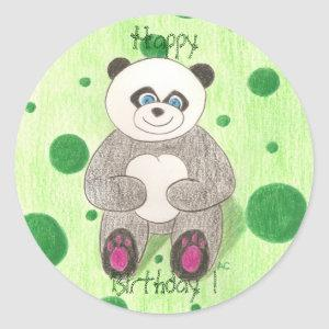 Panda Happy Birthday ! Classic Round Sticker