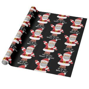 Pandemic Santa w/Personalization Black Wrapping Paper