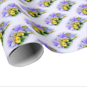 Pansies - Purple asnd Yellow Wrapping Paper