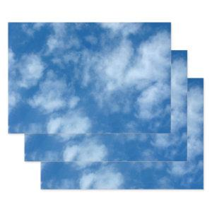 Partly Cloudy Blue Sky Nature Photography Wrapping Paper Sheets