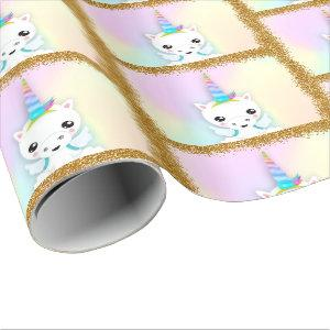 Pastel and Gold Glitter Unicorn Wrapping Paper