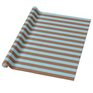 Pastel Blue and Brown Stripes Wrapping Paper