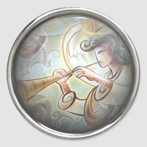 Pastel Colored Angel With Trumpet Classic Round Sticker