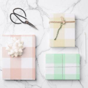 Pastel Coral Yellow and Mint Easter Gingham Multi Wrapping Paper Sheets