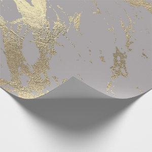 Pastel Gray Abstract Foxier Gold Marble Shiny Glam Wrapping Paper