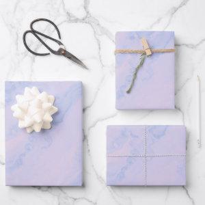 Pastel Lavender Abstract Liquid Ink Pattern Wrapping Paper Sheets