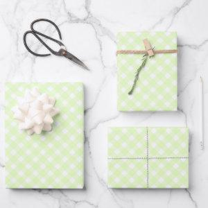 Pastel Lime Green Gingham Plaid Pattern Wrapping Paper Sheets