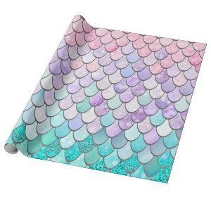 Pastel Mermaid Girls Gift Wrapping Paper
