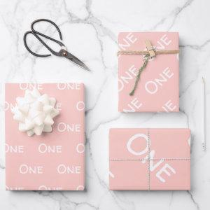 Pastel Pink Baby Girl First Birthday Wrapping Paper Sheets