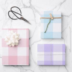 Pastel Pink Blue and Purple Easter Gingham Multi Wrapping Paper Sheets