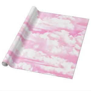 Pastel Pink Happy Clouds Decoration Wrapping Paper