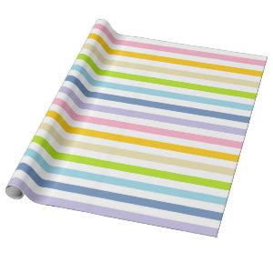 Pastel Rainbow and White Stripes Wrapping Paper
