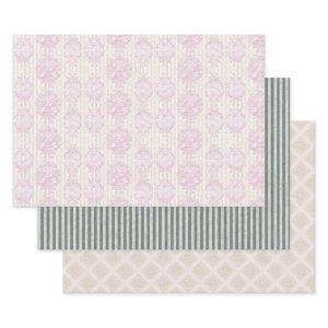 Pastel Rococo Damask Stripe Wrapping Paper Sheets