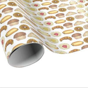 Pastry Tray Croissant Danish Muffin Baked Goods Wrapping Paper