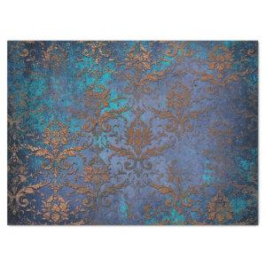 Patina Scroll Work Flowers on Purple Decoupage Tissue Paper