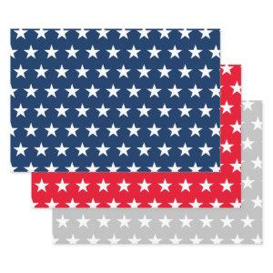 Patriotic American flag stars custom Holiday Wrapping Paper Sheets