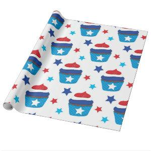 Patriotic Cupcakes Wrapping Paper