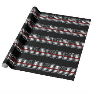 Patriotic Firefighter Flag Torn Out Look Slate Wrapping Paper