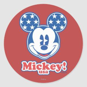 Patriotic Mickey Mouse 4 Classic Round Sticker