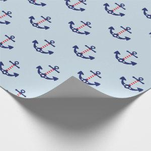 Patriotic Nautical Anchor Pattern Wrapping Paper