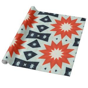 Patriotic Red and Blue Stripes Stars 4th of July Wrapping Paper