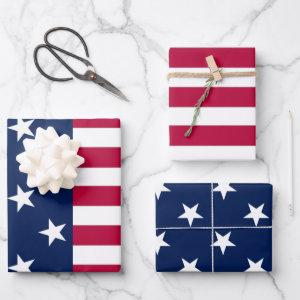Patriotic USA flag stars and stripes american Wrapping Paper Sheets