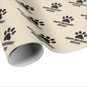 Paw print wrapping paper with name for pet animal