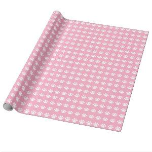 Paw Prints on Pink Background Wrapping Paper